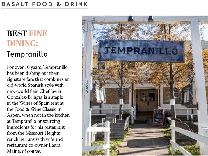 Tempranillo Restaurant Awards